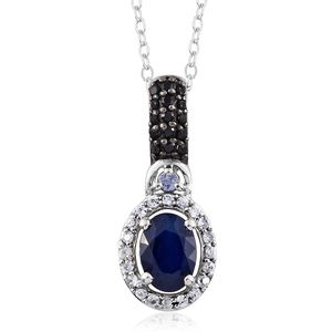 Blue Spinel, Multi Gemstone Platinum Over Sterling Silver Pendant With Chain (20 in) TGW 1.28 cts.