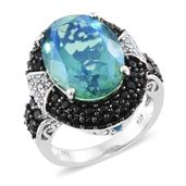 Peacock Quartz, Multi Gemstone Black Rhodium & Platinum Over Sterling Silver Ring (Size 8.0) TGW 15.36 cts.