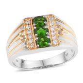 Russian Diopside, Cambodian Zircon 14K YG and Platinum Over Sterling Silver Men's Ring (Size 9.0) TGW 1.65 cts.