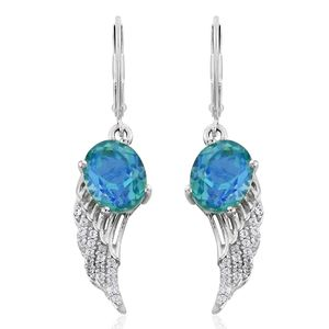 Peacock Quartz, Cambodian Zircon Platinum Over Sterling Silver Wing Lever Back Earrings TGW 6.64 cts.