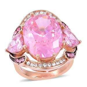 Simulated Pink Diamond, White and Pink Austrian Crystal Black Oxidized Stainless Steel Ring (Size 8.0) TGW 7.32 cts.
