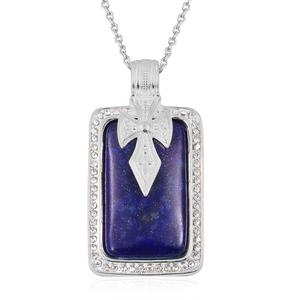 Lapis Lazuli, White Austrian Crystal Stainless Steel Pendant With Chain (20 in) TGW 50.52 cts.