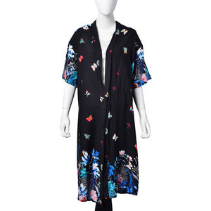 Black with Rainbow Flower & Butterfly Pattern 100% Viscose Short Sleeve Kimono (23.63x43.30 in)
