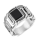 Enhanced Black Agate Black Oxidized Stainless Steel Men's Ring (Size 11.0) TGW 5.00 cts.