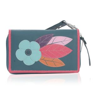 Teal 100% Genuine Leather RFID Flower Applique Wallet (6.25x1x4 in)