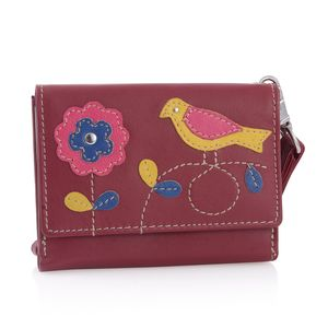 Red 100% Genuine Leather RFID Bird Applique Wallet (4.75x1x4 in)