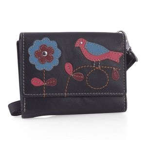 Plum 100% Genuine Leather RFID Bird Applique Wallet (4.75x1x4 in)