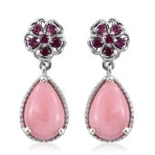 Peruvian Pink Opal, Orissa Rhodolite Garnet Platinum Over Sterling Silver Floral Drop Earrings TGW 5.14 cts.