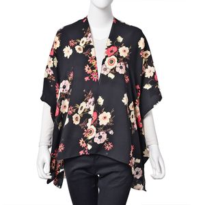 Black 100% Polyester Flower Pattern Kimono (35.4x27.6 in)