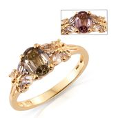 Merelani Color Change Garnet, White Topaz Vermeil YG Over Sterling Silver Ring (Size 10.0) TGW 2.23 cts.
