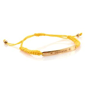 14K YG Over Sterling Silver Believe Bracelet on Yellow Cord (Adjustable)