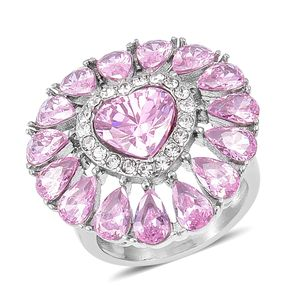 Simulated Pink Diamond, White Austrian Crystal Stainless Steel Ring (Size 8.0) TGW 8.70 cts.