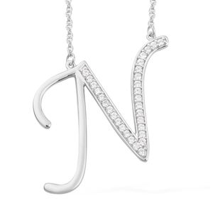 Initial N Necklace Featuring Cambodian White Zircon in Platinum Over Sterling Silver (20 in) TGW 0.56 cts.