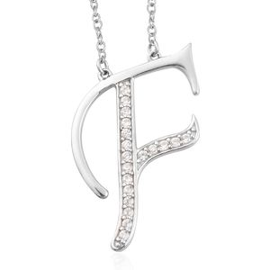 Initial F Necklace Featuring Cambodian White Zircon in Platinum Over Sterling Silver (20 in) TGW 0.36 cts.