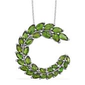 Russian Diopside Platinum Over Sterling Silver Pendant With Chain (20 in) TGW 6.26 cts.