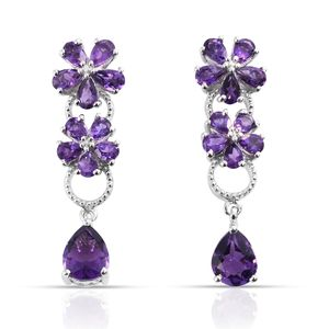 Lusaka Amethyst Platinum Over Sterling Silver Earrings TGW 6.77 cts.