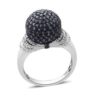 Blue Diamond (IR), Diamond Platinum Over Sterling Silver Ring (Size 7.0) TDiaWt 1.00 cts, TGW 1.00 cts.