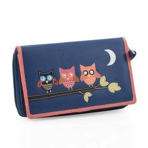 Blue 100% Genuine Leather RFID Owls Applique Wallet (6.25x1x4 in)