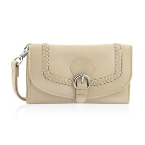 Cream 100% Genuine Leather RFID Wallet with Buckle Flap Closure (6.5x1x4 in)