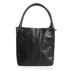 Black Genuine Leather Croco Embossed RFID Shoulder Bag (11x7x12 in)