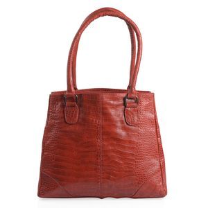 Red Croco Embossed 100% Genuine Leather RFID Shoulder Bag (12.75x5x11.25 in)