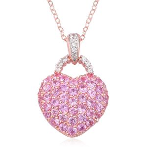 Madagascar Pink Sapphire, White Zircon 14K RG Over Sterling Silver Heart Pendant With Chain (18 in) TGW 2.00 cts.