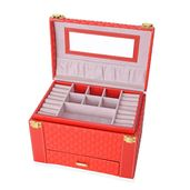 Red 3-Tier Faux Leather Braided Woven Jewelry Box with Mirror and Handle (9x6x6.25 in)