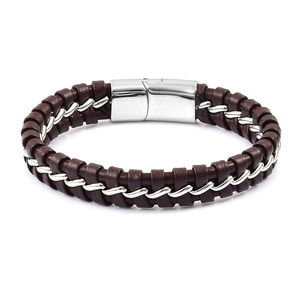 Brown Faux Leather Stainless Steel Woven Bracelet (8.00 In)