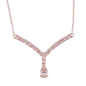 Marropino Morganite 14K RG Over Sterling Silver V-Shape Drop Necklace (18 in) TGW 2.30 cts.