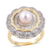 Japanese Akoya Pearl (7.5-8 mm), White Topaz Platinum & 14K YG Over Sterling Silver Cocktail Ring (Size 6.0) TGW 1.45 cts.
