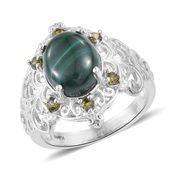 KARIS Collection - African Malachite, Simulated Green Diamond Platinum Bond Brass Ring (Size 6.0) TGW 8.25 cts.