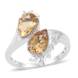 KARIS Collection - Brazilian Citrine Platinum Bond Brass Bypass Ring (Size 8.0) TGW 3.37 cts.