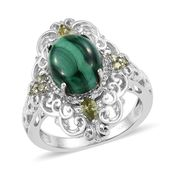 KARIS Collection - African Malachite, Simulated Peridot Diamond Platinum Bond Brass Ring (Size 8.0) 0 TGW 8.37 cts.