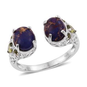 KARIS Collection - Mojave Purple Turquoise, Simulated Peridot Diamond Platinum Bond Brass Ring (Size 7.0) TGW 4.04 cts.