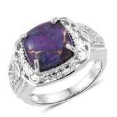 KARIS Collection - Mojave Purple Turquoise Platinum Bond Brass Ring (Size 7.0) TGW 7.35 cts.
