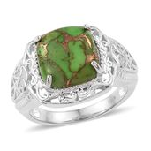 KARIS Collection - Mojave Green Turquoise Platinum Bond Brass Ring (Size 6.0) TGW 6.65 cts.