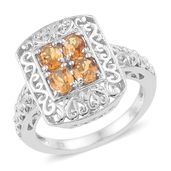 KARIS Collection - Brazilian Citrine Platinum Bond Brass Ring (Size 9.0) TGW 1.30 cts.