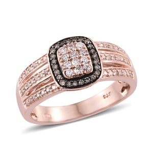 Natural Pink and Champagne Diamond Vermeil RG Over Sterling Silver Ring (Size 10.0) TDiaWt 0.50 cts, TGW 0.50 cts.