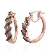Natural Pink and Champagne Diamond Vermeil RG Over Sterling Silver Hoop Earrings TDiaWt 0.50 cts, TGW 0.50 cts.