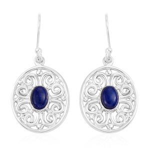 Artisan Crafted Lapis Lazuli Sterling Silver Dangle Earrings TGW 2.12 cts.