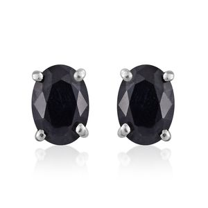Black Sapphire Platinum Over Sterling Silver Stud Earrings TGW 1.90 cts.