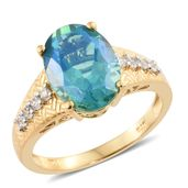 Peacock Quartz, Cambodian Zircon Vermeil YG Over Sterling Silver Ring (Size 7.0) TGW 6.70 cts.