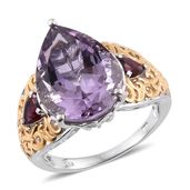 Rose De France Amethyst, Orissa Rhodolite Garnet 14K YG and Platinum Over Sterling Silver Ring (Size 7.0) TGW 12.72 cts.