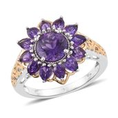 Uruguayan Amethyst 14K YG and Platinum Over Sterling Silver Flower Ring (Size 8.0) TGW 3.65 cts.