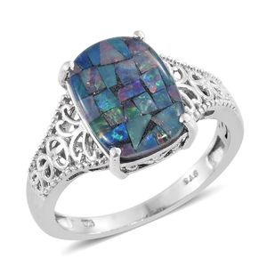 Australian Mosaic Opal Platinum Over Sterling Silver Ring (Size 10.0) TGW 4.25 cts.