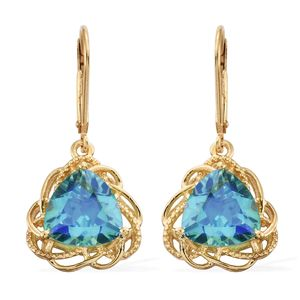 Peacock Quartz Vermeil YG Over Sterling Silver Lever Back Earrings TGW 6.75 cts.