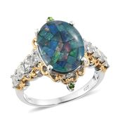 Australian Mosaic Opal, White Topaz, Russian Diopside 14K YG and Platinum Over Sterling Silver Ring (Size 7.0) TGW 6.85 cts.