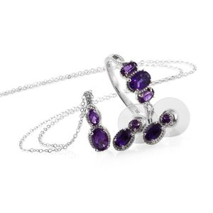 Lusaka Amethyst Platinum Over Sterling Silver Earrings, Ring (Size 5) and Pendant With Stainless Steel Chain (20 in) TGW 3.03 cts.