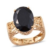Australian Black Tourmaline Vermeil YG Over Sterling Silver Euro Style Ring (Size 8.0) TGW 12.80 cts.
