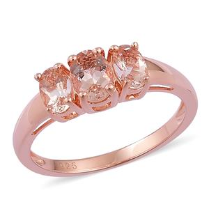 Marropino Morganite 14K RG Over Sterling Silver Trilogy Ring (Size 6.0) TGW 1.55 cts.